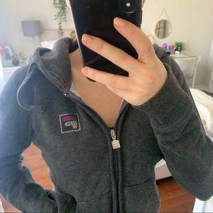 Fila Rhinestone Hoodie   Grey Zip Up Sweater